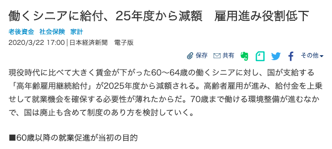 2020年3月21日付日本経済新聞